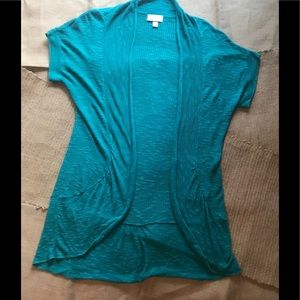 Dress Barn Teal Blue Short Sleeve Cardigan Sz L